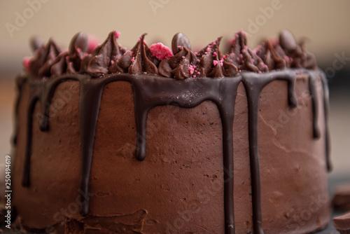 close up detail of chocolate birthday cake