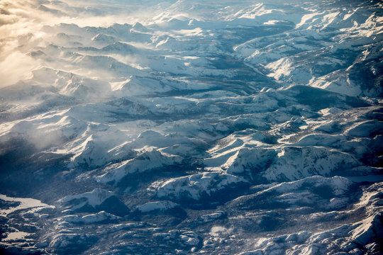 Aerial view of the Sierra Nevada mountains of California taken during the record setting snowfall of 2019.