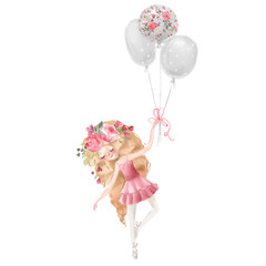 Cute ballerina, ballet girl with flowers, floral wreath flying with balloons