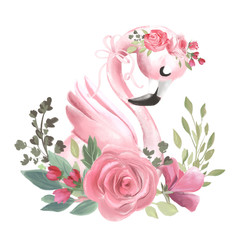 Cute dreaming girl baby pink flamingo with flowers, floral wreath