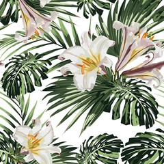 Tropical jungle plants, royal lilies flowers and palm monstera leaves on white background. Beach seamless pattern.
