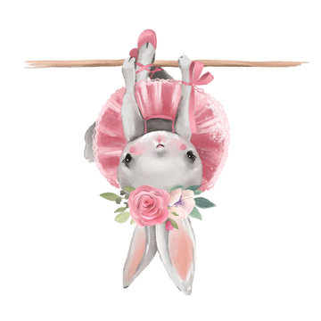 Cute ballerina, ballet girl baby bunny with flowers, floral wreath in a ballet dress
