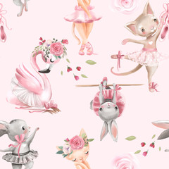 Beautiful, seamless, tileable pattern with watercolor ballerinas animals - bunny, kitten, cat and flamingo bird, ballet girls and pink rose blossoms, flowers