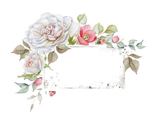 Floral Watercolor Frame with Delicate White and Pink Roses