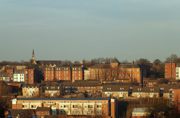 A cityscape panoramic view of leeds showing houses and apartments in the woodhouse area of leeds near the university area
