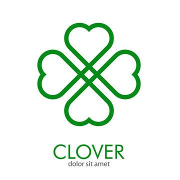 Logotipo abstracto con texto CLOVER con trébol lineal entrelazado de 4 hojas en color verde