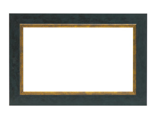 NAVY AND GOLD WOOD PICTURE FRAME ISOLATED ON WHITE BACKGROUND