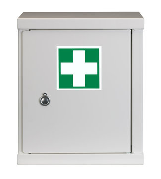 LOCKED STEEL CABINET WITH FIRST AID WARNING SIGN ON DOOR ISOLATED ON WHITE BACKGROUND