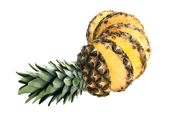 Sliced pineapple white isolated . Healthy tropical fruit eating.Pineapple fall rings