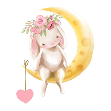 Cute watercolor baby bunny with flowers, floral wreath, bouquet sitting on a half moon with a hanging heart