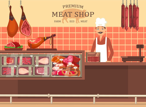 Butcher man at meat store showcase with ham