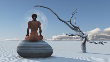 Woman meditates sitting on stone