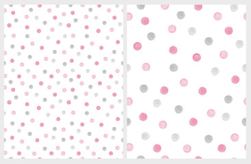 Cute Hand Drawn Abstract Brush Irregular Dots Vector Pattern Set. Gray and Pink Brush Dots on a White Backgrounds. Bright Watercolor Like Design. Simple Dotted Layout.