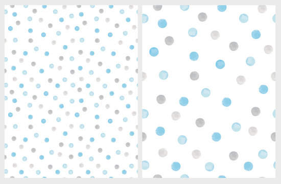Cute Hand Drawn Abstract Brush Irregular Dots Vector Pattern Set. Gray and Blue Brush Dots on a White Backgrounds. Bright Watercolor Like Design. Simple Dotted Layout.