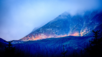 Fotobehang Alpen slovakian Tatra mountain high peaks on the blue sky background
