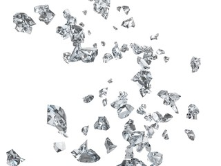 Broken glass shards and pieces
