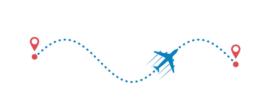 plane and its track isolated on white background. Vector illustration.