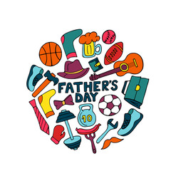 Father's Day banner in doodle style. Men's lifestyle, sports equipment, clothes and accessories