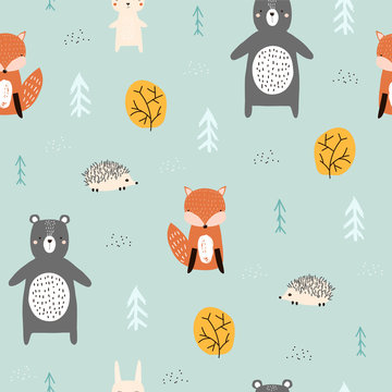 Seamless pattern with forest animals. Kids cute print. Vector hand drawn illustration.