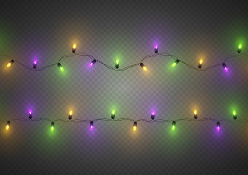 Mardi Gras decorative colorful traditional led lights, seamless, isolated, vector illustration