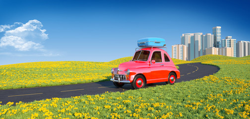 Retro cartoon car with laggage on top