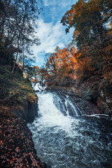 Swallow Falls at Autumn in Snowdonia National Park, UK