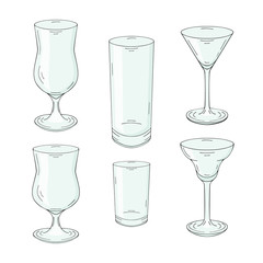 Collection of hand drawn glasses for cocktails and drinks. Isolated on white. Vector illustration.