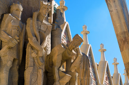 Imposing sculptures of the Sagrada Familia Church in Barcelona. Spain.
