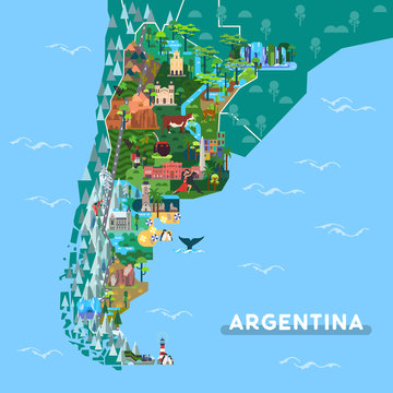 Landmarks or sightseeing places on Argentina map