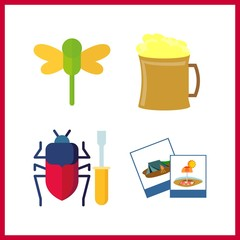 4 closeup icon. Vector illustration closeup set. beer and photography icons for closeup works