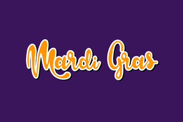 Mardi Gras lettering text vector isolated illustration on purple background. Template design for poster, banner, greeting card