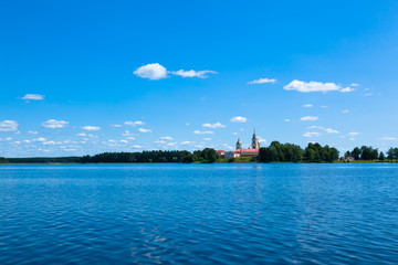 Blue sky and blue lake in summer. Famous lake Seliger. Russia.