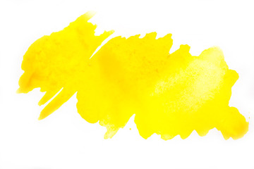 Yellow watercolor blot on white isolated background.