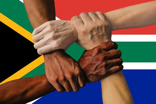 South Africa flag, intergration of a multicultural group of young people
