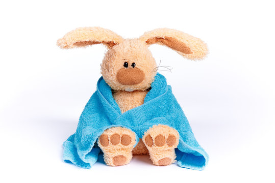 Soft stuffed  bunny in a blue towel on a white background.