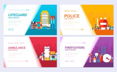 Firefighter, rafting, police, medicine rescue. Emergency services brochure card set. template of flyear, web banner, ui header, enter site. Layout invintation modern slider