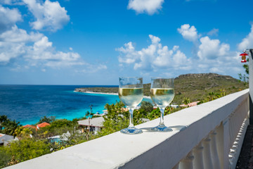House and pool by the sea  Views around the small Caribbean Island of Curacao