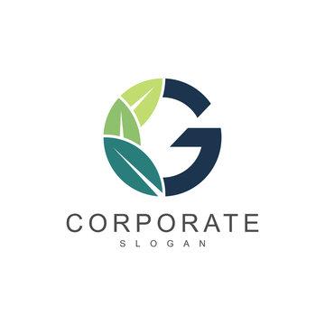 green leaf letter g nature logo template