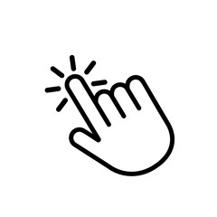Click here the button with the hand icon. Linear icon for web sites. flat vector illustration isolated