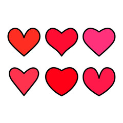 Large set of hearts icons in linear style. flat vector illustration isolated