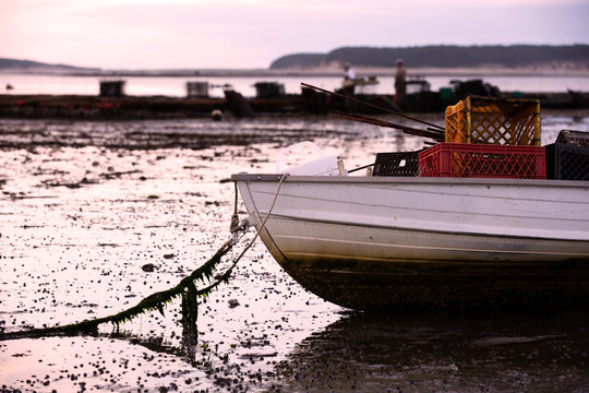 Boat in Wellfleet Harbor with oystermen in the background on Cape Cod, Wellfleet MA