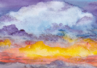 Sunset. Abstract watercolor background