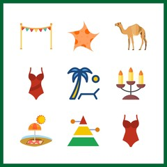9 sand icon. Vector illustration sand set. camel and beach icons for sand works