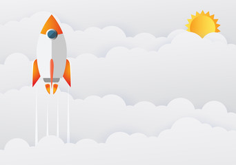 Business Startup project concept with rocket into the sky flat design. Vector illustration