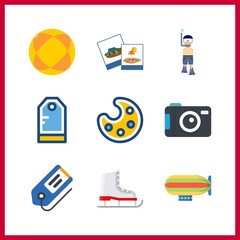 9 hobby icon. Vector illustration hobby set. aqualung and photography icons for hobby works