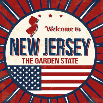 Welcome to New Jersey vintage grunge poster