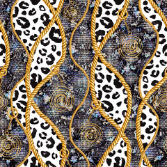 Golden chain glamour snakeskin and leopard fur seamless pattern illustration. Watercolor texture with golden chains.