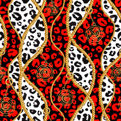 Golden chain glamour leopard cheetah black white red seamless pattern illustration. Watercolor texture with golden chains.