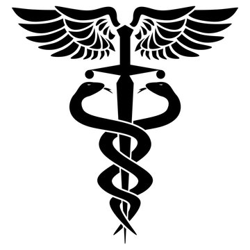 Caduceus medical symbol, with two snakes, sword and wings, isolated vector illustration