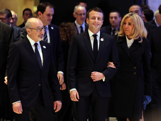 Crif chairman Francis Kalifat arrives with French President Emmanuel Macron and his wife Brigitte Macron speaks at the 34th annual dinner of the CRIF in Paris